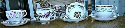 Vintage Teacup Lot of 4 Cups & Saucers Beautiful Colors/Patterns