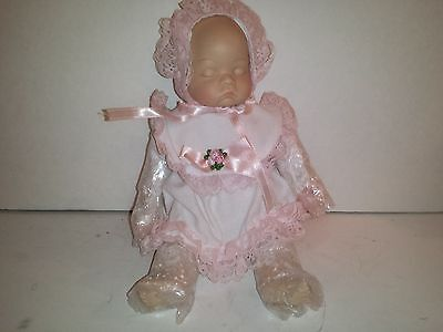 """Porcelain Sleeping Baby Doll - Pink and white dress -- So Adorable!!! 10"""" Long"""