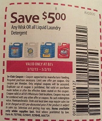 20 Coupons BJ'S $5.00/1 Any Wisk Or All Liquid Laundry Detergent 5/2/15 $5/1 Bjs