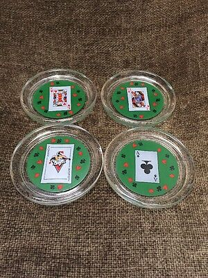 Set Of 4 Glass Drink Coasters PLAYING CARD POKER THEME PARTY Gambling Casino