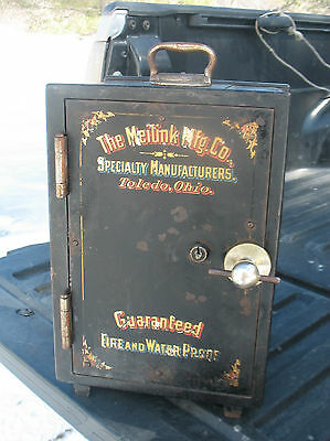 """Antique Meilink Small iron Safe 14""""H, 9 1/2"""" x 9 1/2"""" rare size"""