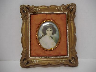 Vgt. victorian gold frame with silk, portrait print of young woman,glass cover