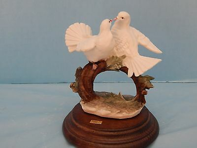Pair of China Doves on a Branch - Wooden Base - Marked N - Italy