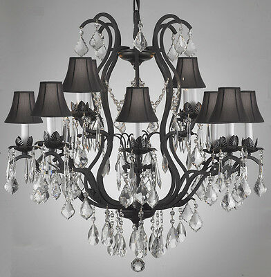 12 LIGHT CRYSTAL WROUGHT IRON CHANDELIER WITH SHADES DINING ROOM FREE SHIP