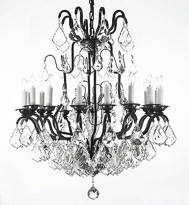 """16 LIGHT 27""""X33"""" WROUGHT IRON CHANDELIER WITH CRYSTALS FREE SHIPPING"""