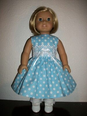 """Easter Dress Blue Dot/clothes! Fits American Girl or18""""Doll!"""