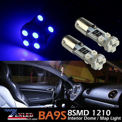 2X Super Blue BA9S 8SMD LED Light Interior Car RV Van Truck 64111 T4W H6W 6253