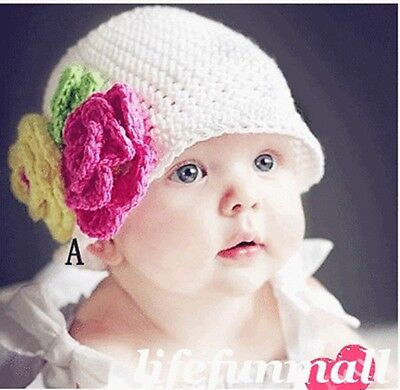 Baby Infant Photography Prop Handmade Crochet Knit FLOWER Hat Beanie Boutique