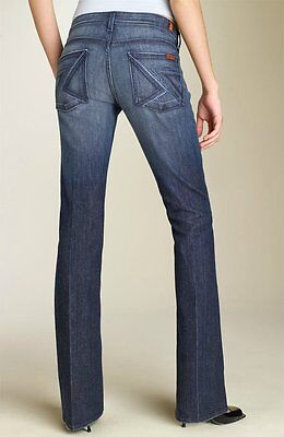 SEVEN 7 FOR ALL MANKIND ☮ Crystal 'FLYNT' Bootcut Stretch Jeans in NYD Wash ~ 28