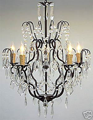 5 LIGHT METAL OR WROUGHT IRON CHANDELIER WITH CRYSTALS DINING LIVING ROOM FOYER