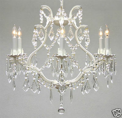 6 LIGHT SHABBY CRYSTAL WHITE METAL OR WROUGHT IRON CHANDELIER KITCHEN BEDROOM