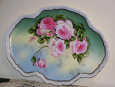 """O&EG Royal Austria Tray Platter with Pink Roses, Signed Martin,  12.5"""" by 9.25"""""""
