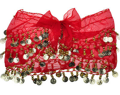Beautiful RED Belly Dance Scarf Wrap Hip Skirt 128 Gold Coins most SEXY Dancing