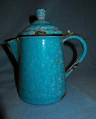 Small Late 1800s Blue and White Mottled Graniteware Coffee Pot with Metal