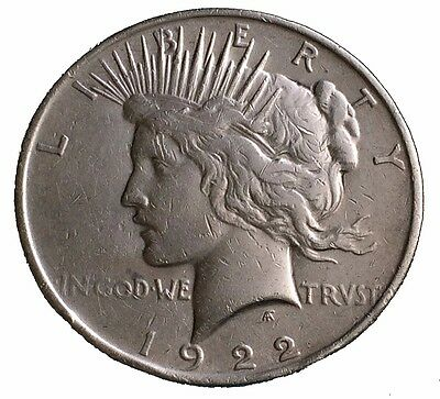 1922 Peace Silver Dollar Old US Coin 90% Silver PSD, No Reserve! - #L368