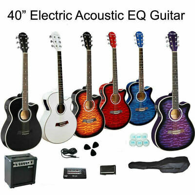40 inches Cutaway Electric Acoustic EQ Guitar and Guitar  Tuner Bag Amp Set