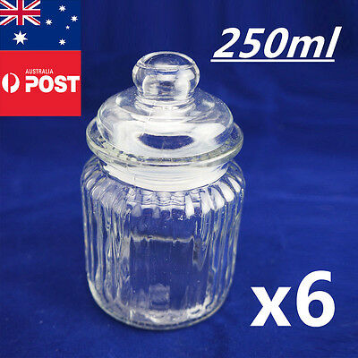 6 x Clear 250ml Preserving Storage Glass Jars Container For Food Lolly Spices