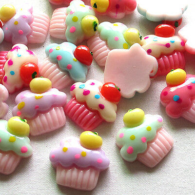 20/100pcs Summer Ice Cream Resin Flatbacks Scrapbooking Lots Button Mix B0421