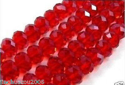 100pc Red Crystal Faceted Loose Bead 4x6mm ssa1