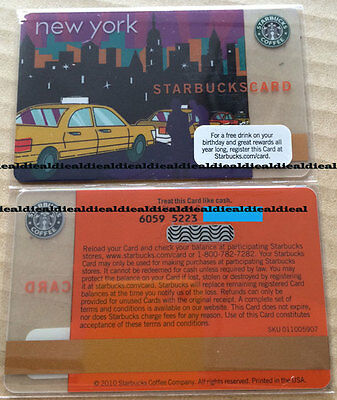 2x Starbucks Coffee CARD NEW YORK TAXI 2010 U.S.A +  Ice Cubes Thailand FREE