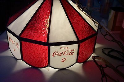 Vintage Coca-Cola stained-glass ceiling light