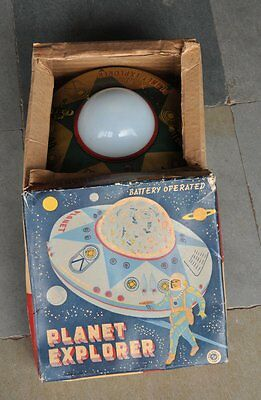 Vintage Boxed X-80 Planet Explorer RTC Space ship Saucer Litho Battery Tin Toy