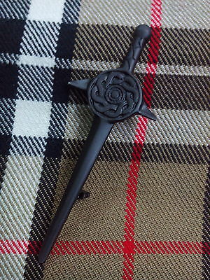 S Scottish Celtic Knot Shield Design Kilt Pin/Kilt pin Celtic Swirl Sword Black