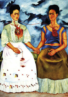 Frida Kahlo - Both Frida - A4 size 21x29.7cm QUALITY Canvas Art Print Unframed