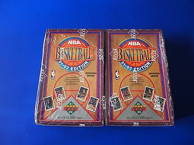 1991-92  UPPER DECK  LOW # - FACTORY SEALED  BASKETBALL BOX- 36 PACKS, LOT OF 2!