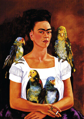 Frida Kahlo - Me and my Parrots - A4 size 21x29.7cm Canvas Print Poster Unframed