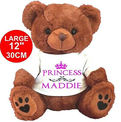 """Personalised BROWN Teddy Bear 25CM/10"""" SITTING  FLOWER GIRL ANY OCCASION CROWN"""