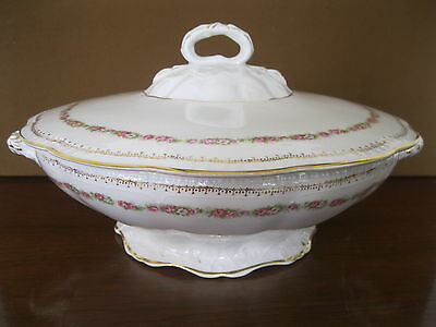 Vintage Pink Roses Round Server Dish Soup Tureen & Cover Gold Trim Edwin Knowles