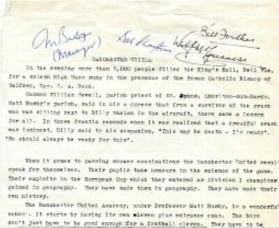 Signed Munich Air Crash Manchester United 1958 Football Report: Busby.foulkes +