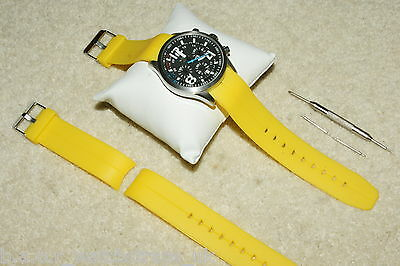 Polyurethane Divers Curved Ends Yellow Watch Strap 20-22mm Bars & Remover Tool