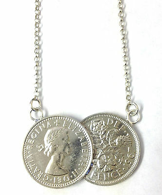 18 inch Double Genuine Sixpence Coin Necklace on Sterling Silver Chain 1953-1967