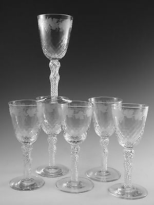 ANTIQUE WINE Glass / Glasses - Fruiting Vine Pattern (E) - Powell - Set of 6