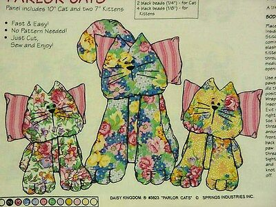 "PARLOR CATS Soft Sculpture Dolls Fabric Panel Daisy Kingdom 10"" & Two 7"" Kittens"