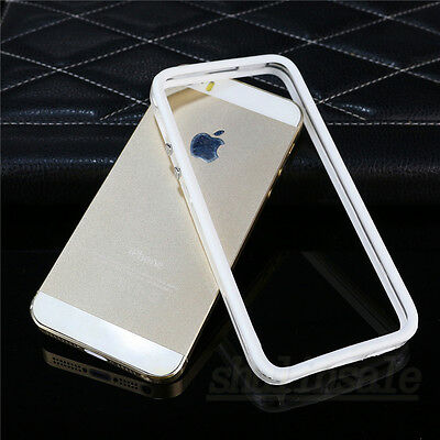 White Soft Protective Frame Silicone TPU Bumper Case Cover For Apple iPhone 5 5S