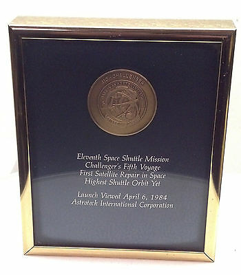1984 11th SPACE SHUTTLE MISSION 5th CHALLENGER AWARD PLAQUE COIN ASTROTECH SHIP