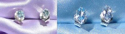 2PAIRS-5MM X 3MM OVAL & 3MM ROUND- LT BLUE AQUAMARINE .925 STERLING SILVER STUDS