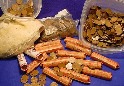 Lot 1 Roll ( 50 cents ea ) Lincoln Wheat 1940 - 1958 Penny 95% Copper Circulated