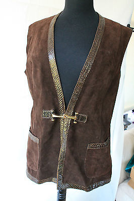"Vintage 1960's Ladies Brown Real Suede Leather Waistcoat With Buckle 38"" Chest"