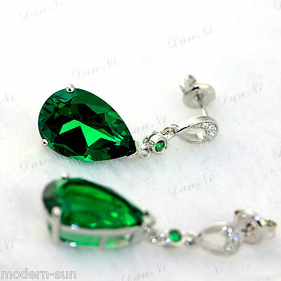 925 Sterling Silver 12.5CT Pear-shaped Emerald Micro inlays Earrings Hook E9734
