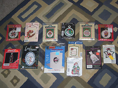 LOT OF 13 NEEDLEPOINT, COUNTED CROSS STITCH, CIRCLET, LACE, HERB ORNAMENT KITS!
