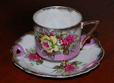 VINTAGE VICTORIAN TEA CUP AND SAUCER with FEET,  CABBAGE ROSE BOUQUETS