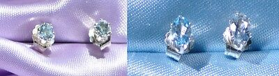 2 PAIR OF-LT BLUE AQUAMARINE STERLING SILVER STUDS- 5MM X 3MM OVAL & 3MM ROUND