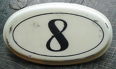 Vintage French Enamel Steel House Number 8 Plaque Metal Sign ~ Wine Cellar Bins