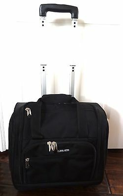 BLACK ROLLING CARRY ON LUGGAGE UNDERSEAT ROLLING BAG TRAVEL