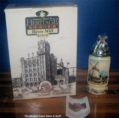 Anheuser-Busch 1998 BEVO MILL 1st In Heritage Series Stein CB9! Larger Box + COA