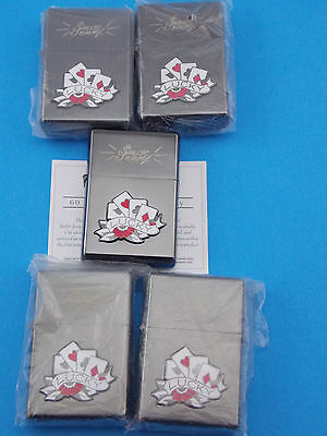 Lot of Five, Vintage, Sailor Jerry Lighter, Lucky Cards - Limited Edition 2007
